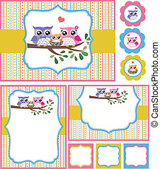 Eule Baby-Duschkarte Illustration