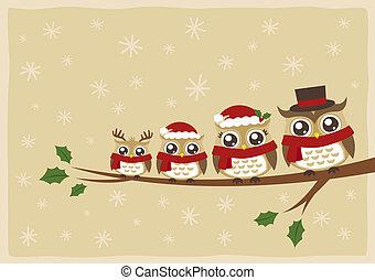 Eule Familie Weihnachtsgruß