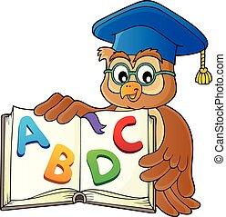 Eule Lehrer mit offenem Buch Thema Bild 2