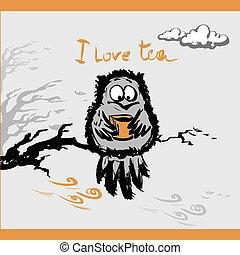 Eule mit einer Tasse Tee im Herbst, Vektor Illustration.