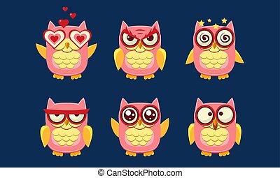 Eule Zeichen gesetzt, süße Vögel mit verschiedenen Emotionen Vektor Illustration