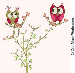 Eulen in Liebe auf Zweig