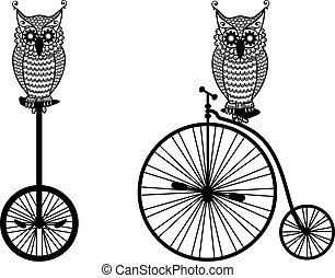 Eulen mit dem alten Fahrrad, Vektor