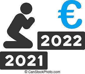 euro, ikone, mann, vektor, 2022, beten, wohnung
