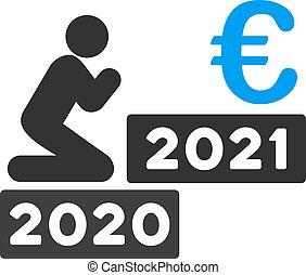 euro, ikone, mann, vektor, beten, wohnung, 2021