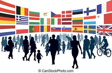 Europäer laufen.