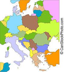 europa, östlich, editable, länder