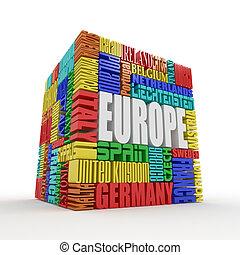 Europa. Box vom Namen der europeanischen Länder