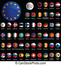 Europa schmierige Ikonensammlung gegen Schwarz