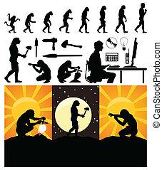 Evolution von einem Affen zum Menschen. Eine Vektor-Illustration