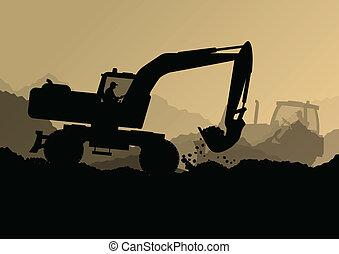 Excavator Bulldozer-Lader, Traktoren und Arbeiter graben auf der industriellen Baustelle Vektor Hintergrundbild.