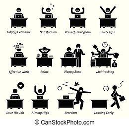 Executive in einem effizienten Büro-Arbeitsplatz. Der Arbeiter ist glücklich, zufrieden, erfolgreich und genießt die Arbeit.