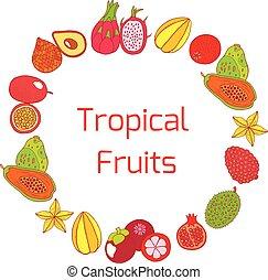 exotische , voll, bunte, rahmen, hand, tropische frucht, gezeichnet, kreis