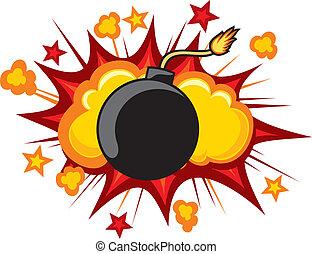 explodieren, altes , bombe, beginnen