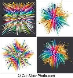 explosion, farbe, vektor, kunst