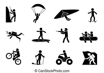 Extreme Sport- oder Abenteuer-Icons