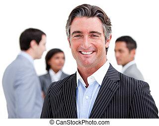 fällig, stehende , mannschaft, seine, geschäftsmann, charismatic