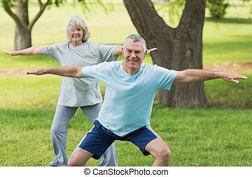 fälliges ehepaar, park, trainieren, lächeln