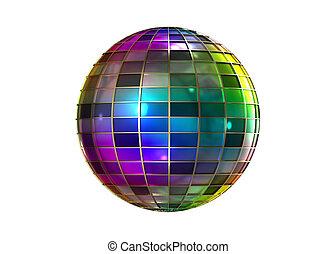 färben voll, seltsam, kugel, disko