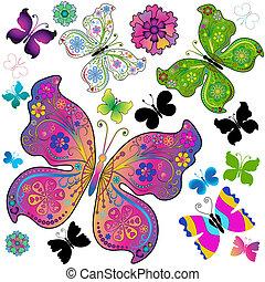 Färbere und schwarze Schmetterlinge