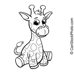 färbung, säugling, giraffe, reizend, karikatur, vektor, buch