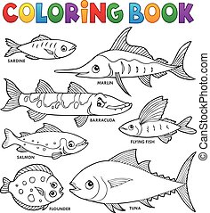 färbung, satz, buch, verschieden, thema, 1, fische