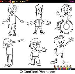 färbung, satz, kinder, buch, teenager, charaktere, oder