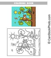 Färbungsbuch Fuchs und Krähe