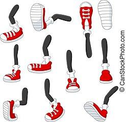 füße, karikatur, positionen, rotes , stock, gehen, verschieden, beine, turnschuhe