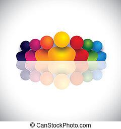 Führungs- und Führungskonzept mit bunten Menschen-Ikonen