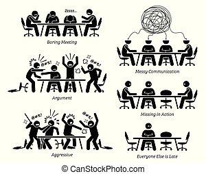 Führungskräfte mit ineffektiven und ineffizienten Treffen und Diskussionen.