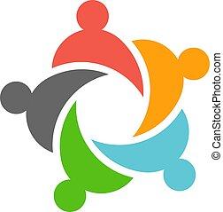 Fünf Business Teamwork Menschen Logo Design.