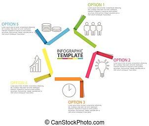 Fünf Schritt Papier infographische Vorlage mit Ikonen.