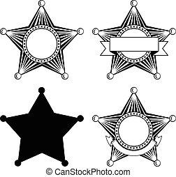 Fünf spitze Sheriffs-Star-Set.