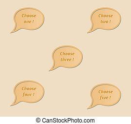 Fünf sprechen Bläschen - Wähle eins, zwei, drei, vier, fünf