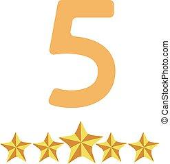 Fünf Sterne sind auf weißem Hintergrund isoliert