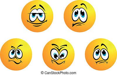 Fünf verschiedene Lächeln-Ausdrücke.