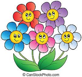 Fünf Zeichentrickblumen.