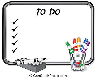 Für eine Liste mit Whiteboard, Stiften