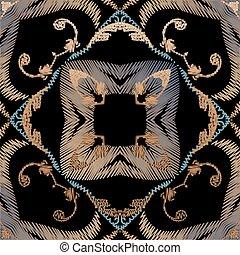 fabric., blätter, pattern., carpet., barock, grunge, blumen-, seamless, vektor, ornaments., farbenfreudige blumen, damast, beschaffenheit, stickerei, tapisserie, frames., bestickt, textured, wallpaper., hintergrund.