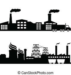 Fabrik, Atomkraftwerk, Industriegebäude