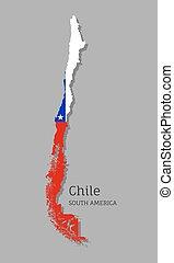 fahne, national, chile, landkarte