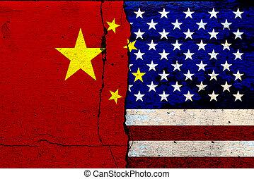 fahne, staaten, schlacht, vereint, farbe, rissig, wände, (mixed, media), amerika, wirtschaftlich, porzellan