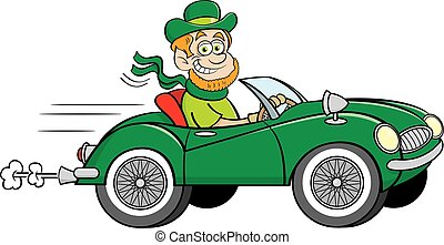 fahren, umwandelbar, sport, auto., karikatur, kobold