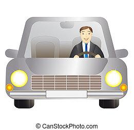 Fahrer im silbernen Auto