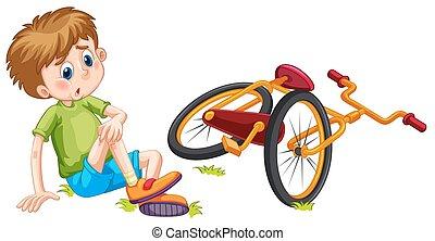 fahrrad, gefallen, junge, aus