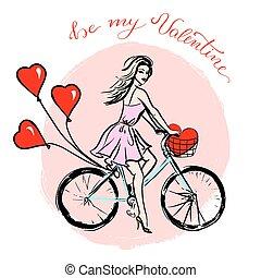 fahrrad, luftballone