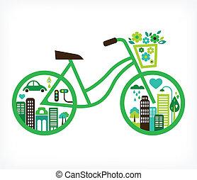 Fahrrad mit grüner Stadt - Vektor