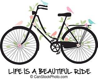 Fahrrad mit Vögeln und Blumen.