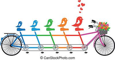 Fahrrad mit Vogelfamilie, Vektor